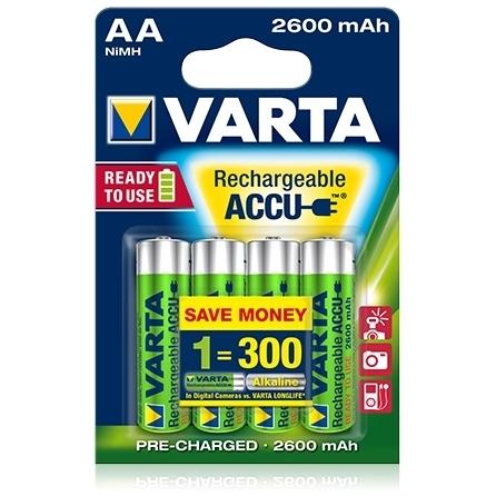 Acumulatori reincarcabili Varta AA R6 2600 mAh, blister 4 buc.