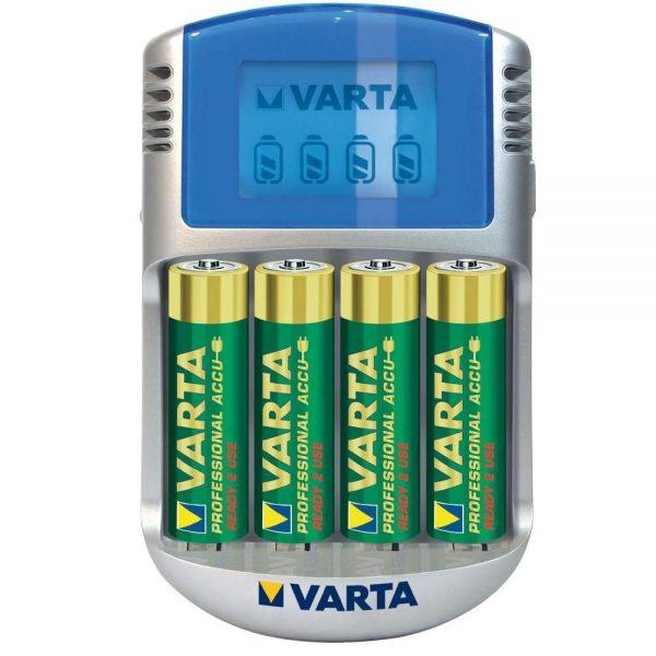 Incarcator Varta LCD 57070, cu 4 acumulatori, 2600 mAh, Preincarcati, R2U, 12V, USB